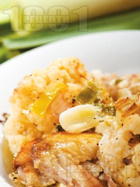 Пиле с карфиол и топено сирене на фурна - снимка на рецептата